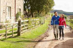 Couple on country walk
