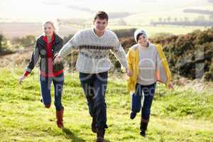 Young friends on country walk