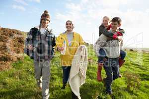 Young couples on country walk