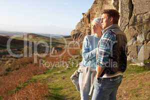 Young couple on country walk