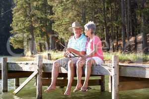Senior couple fishing