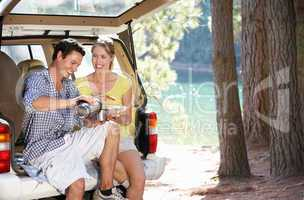 Young couple on country picnic