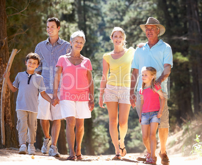 3 Generation family on country walk