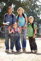 Young family on country walk