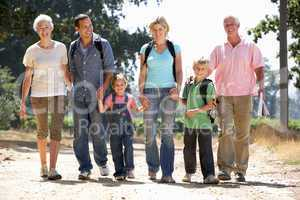 Three generation family on country walk
