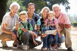 Three generation family on country walk
