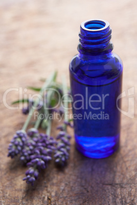 Lavender flowers and scent bottle
