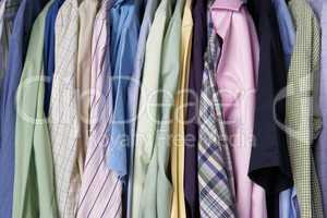 Rail of men's shirts