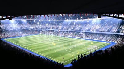 Sports event in light of spotlight.