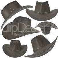 Set Of Black Cowboy Hat