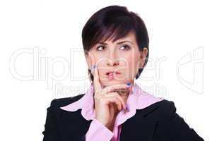 Geschäftsfrau denkt nach