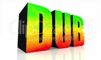 3D Text DUB isoliert - grün gelb rot