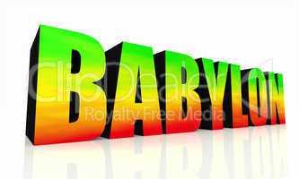 3D Text Babylon isoliert - grün gelb rot