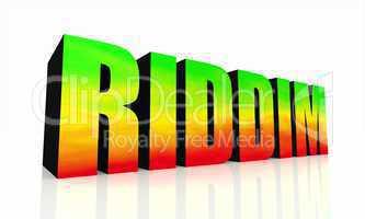 3D Text RIDDIM isoliert - grün gelb rot