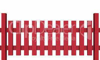 3D Holzzaun - rot freigestellt 03