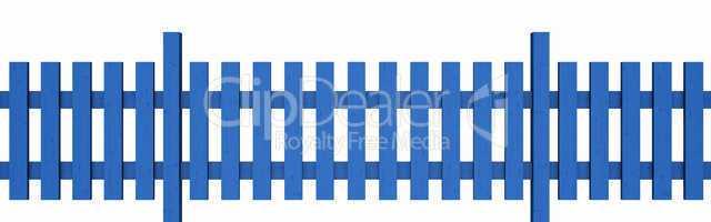 3D Holzzaun - blau freigestellt 01