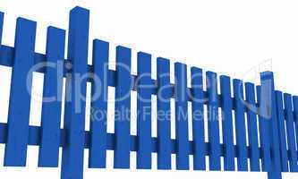 3D Holzzaun - blau freigestellt 02