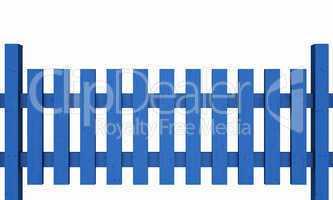 3D Holzzaun - blau freigestellt 03