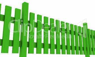 3D Holzzaun - grün freigestellt 02