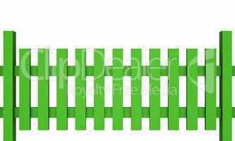 3D Holzzaun - grün freigestellt 03
