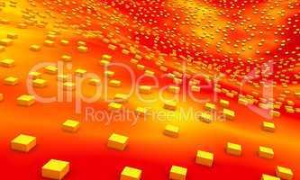 Hintergrund - 3D Welle mit Würfel gelb rot