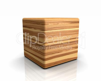 3D Holzwürfel abgerundet - Esche Olive