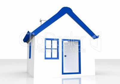 Das kleine Haus mit blauem Dach