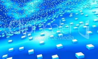 cube landscape blue white