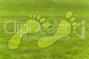 Grünes Gras am Hügel mit Fussabdrücken