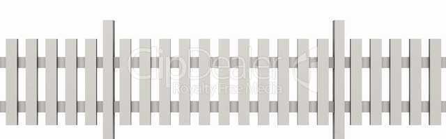 3D Holzzaun - Weiß freigestellt 03