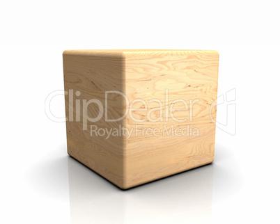 3D Holzwürfel abgerundet - Birke geschält
