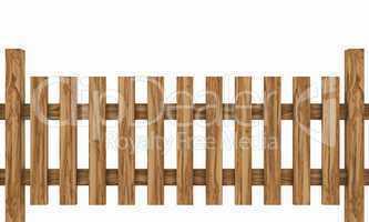 3D Holzzaun - Kernbuche freigestellt