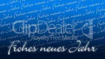 Silvesterkarte - Frohes neues Jahr - blau