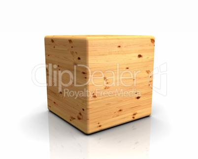 3D Holzwürfel abgerundet - Kiefer Astloch