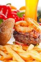 classic hamburger sandwich and fries