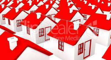 Häuser in Massenproduktion - weiß rot