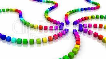 Würfelspirale farbenfroh