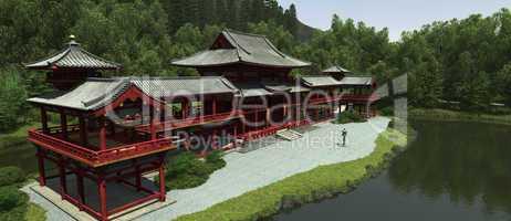 Japanischer Tempel im Hochland