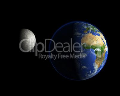 Erdball und der Mond - Afrika / Europa