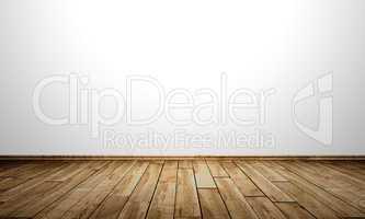 Weisse Wand mit Holzboden - Birke Maser