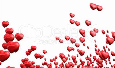 Viele fliegende rote Herzen isoliert