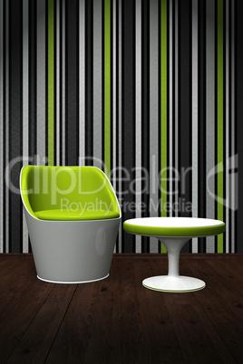 Moderner Stuhl mit Tisch im Licht - Grün Weiß