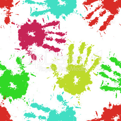 Print hand of child, seamless background