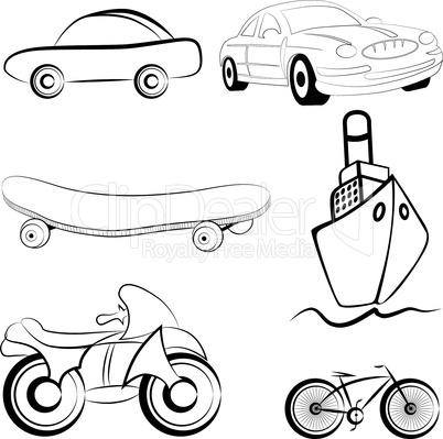 Transport, sketch style icon, emblem of bike, ship. Set illustration