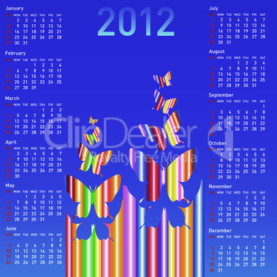 Stylish calendar with  butterflies for 2012.