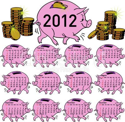 Stylish calendar  Pig piggy bank for 2012. Sundays first