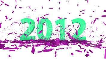 grün datum 2012 mit auszug pink konfetti