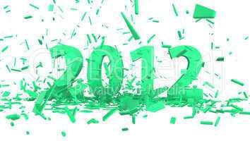 datum 2012 mit auszug konfetti in grün