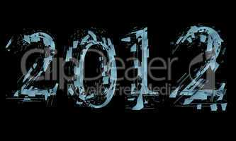 abstract splitted lettering 2012 on black