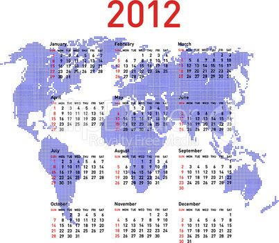 calendar 2012 with world map. Sundays first